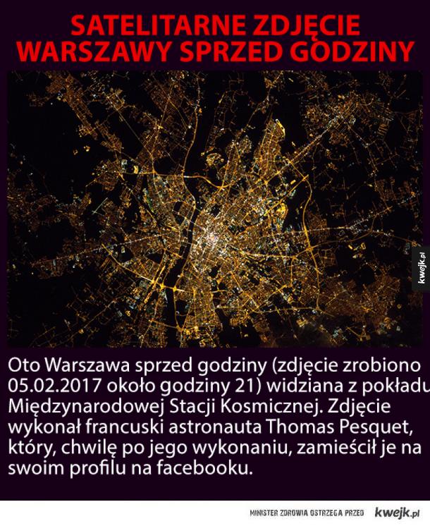 Nieprawdopodobne zdjęcie satelitarne Warszawy sprzed godziny