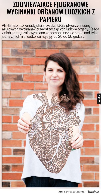 Zdumiewające filigranowe wycinanki organów ludzkich z papieru