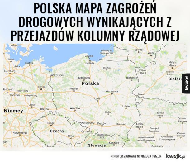 Mapa zagrożeń drogowych w Polsce