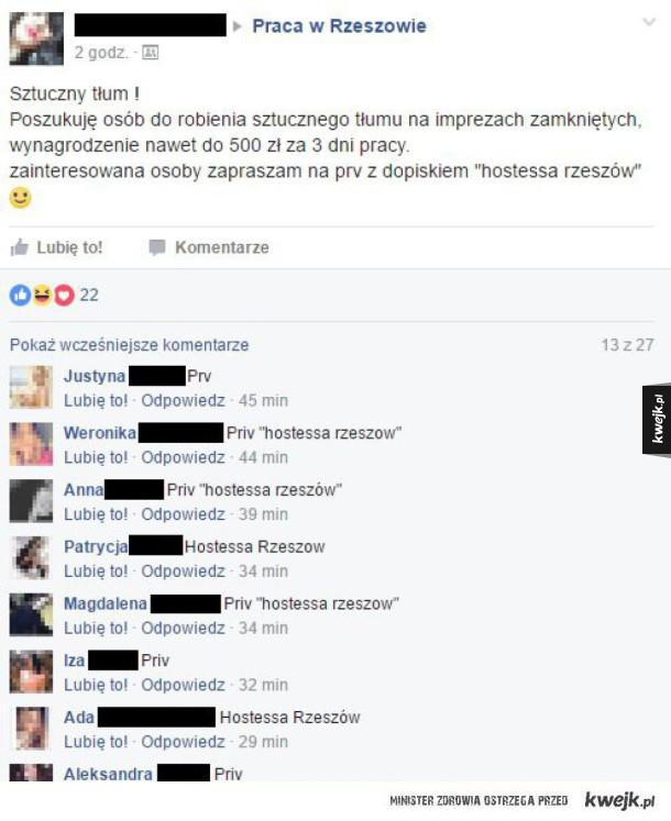 Ogłoszenie o pracę - Sztuczny tłum facebook priv hostessa rzeszów