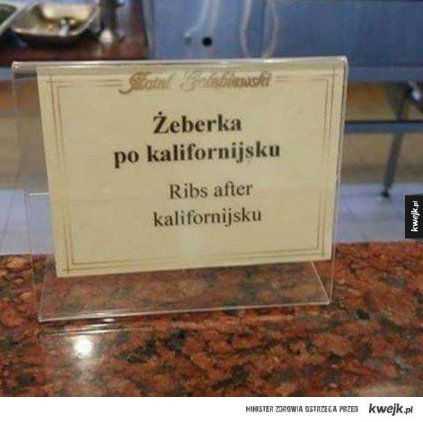 Janusze tłumaczenia - Żeberka po kalifornijsku