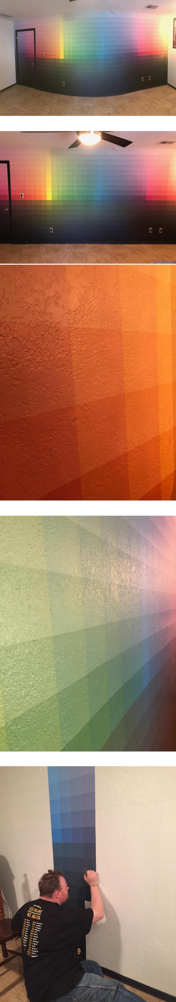 Ściana pomalowana na wszystkie możliwe kolory