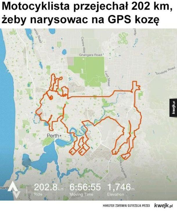 Kiedy bardzo się nudzisz: - Motocyklista przejechał 202 km żeby narysować na gps kozę