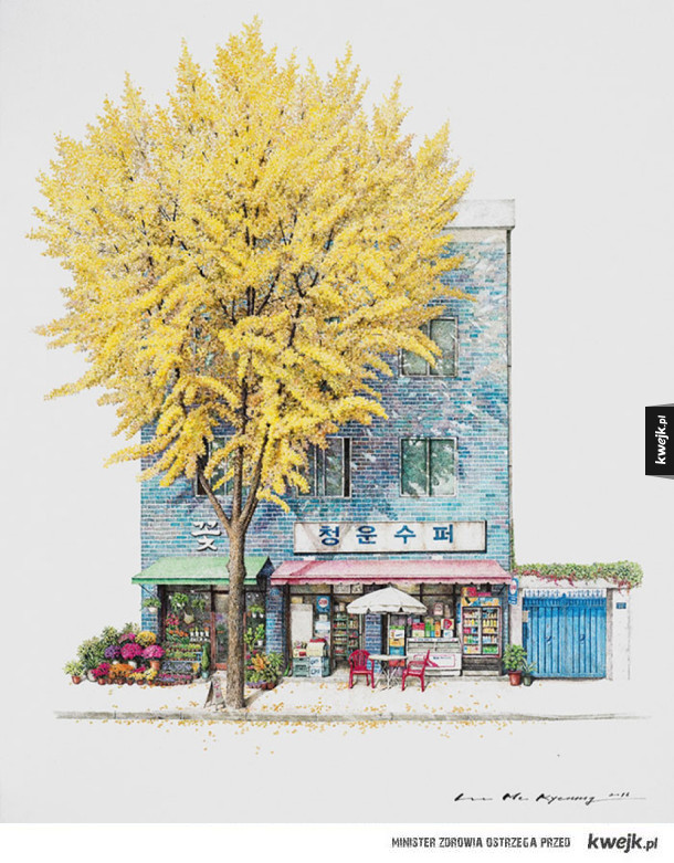Rysunki południowokoreańskich sklepików autorstwa Me Kyeounga