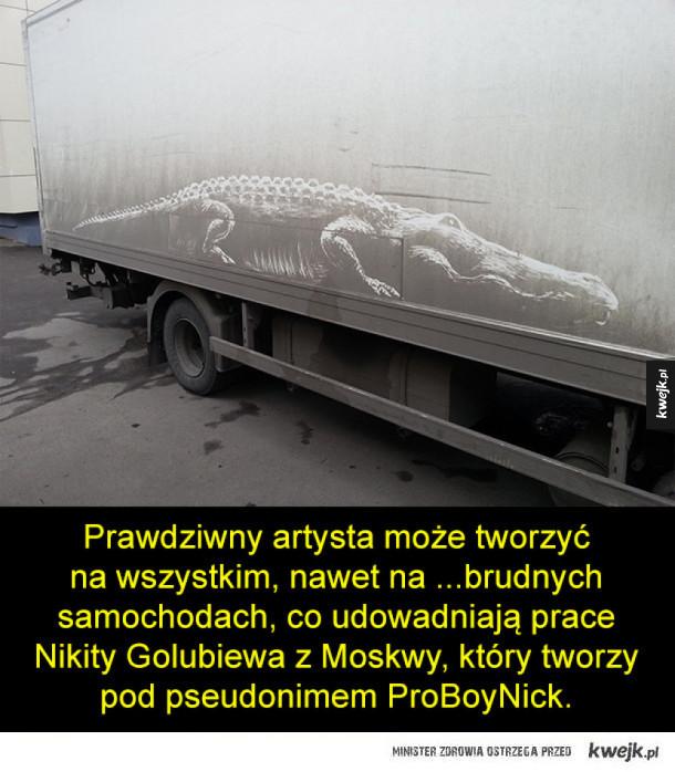Obrazy na brudnych samochodach