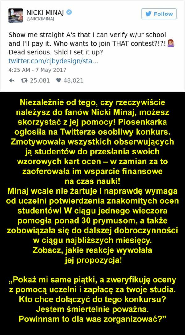 Nicki Minaj zaoferowała pilnym studentom opłacenie czesnego. Oto reakcja jej fanów!