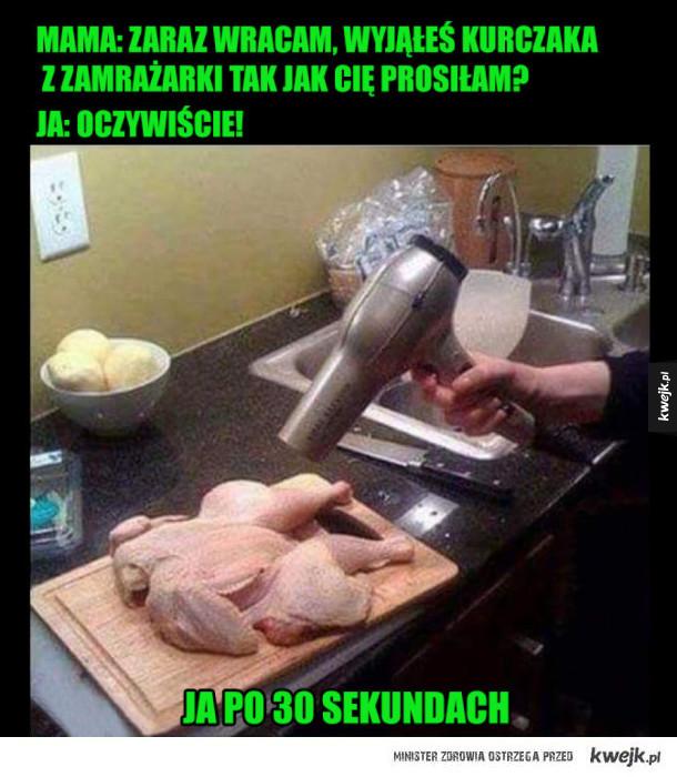 rozmrożony kurczak