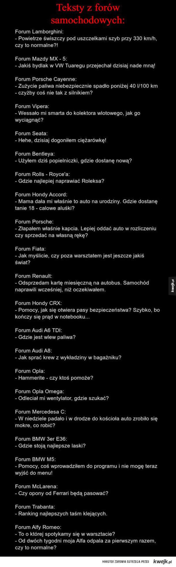Teksty z forów samochodowych