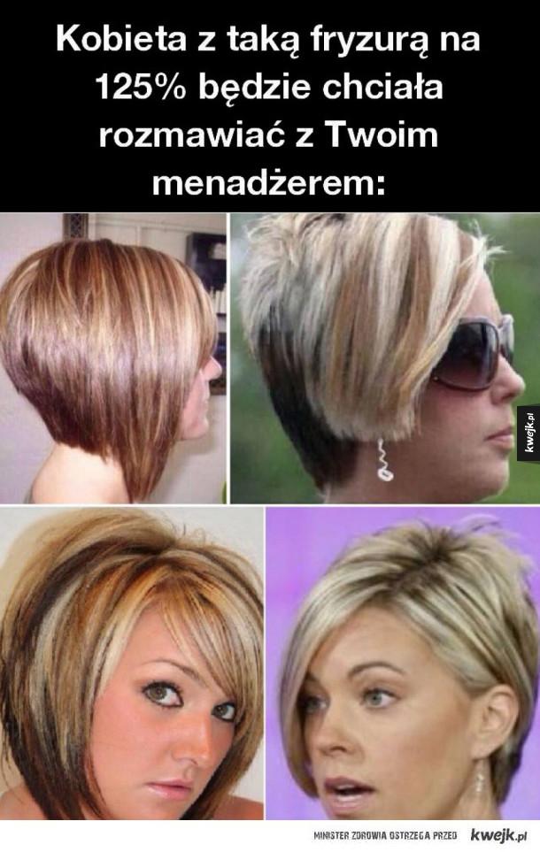 Kobieta z taką fryzurą