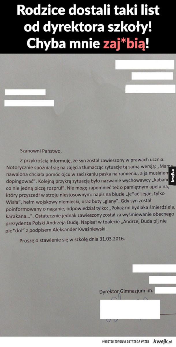 List od dyrektora szkoły