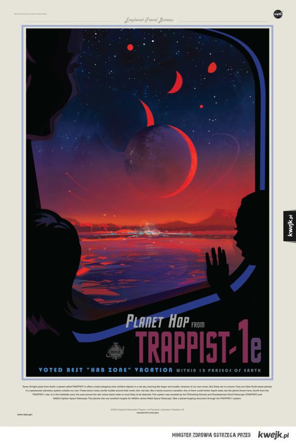 Plakaty NASA promujące kosmiczną turystykę