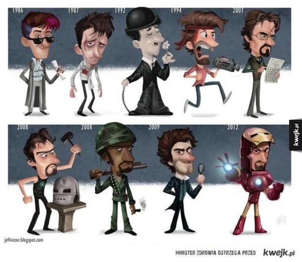 Ilustracje przedstawiające znanych aktorów i ich najsłynniejsze role