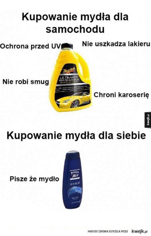 Kupowanie mydła dla samochodu i dla siebie