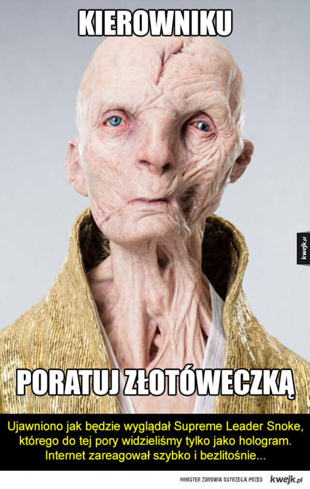 Internet reaguje na Supreme Leadera Snoke'a