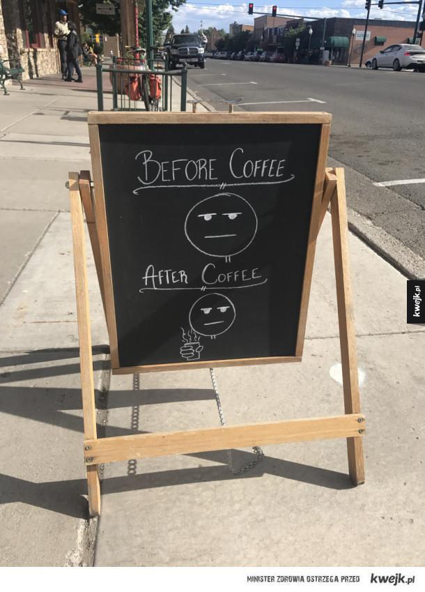 Ja przed i po kawie