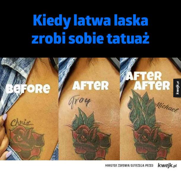 Łatwa laska i tatuaż
