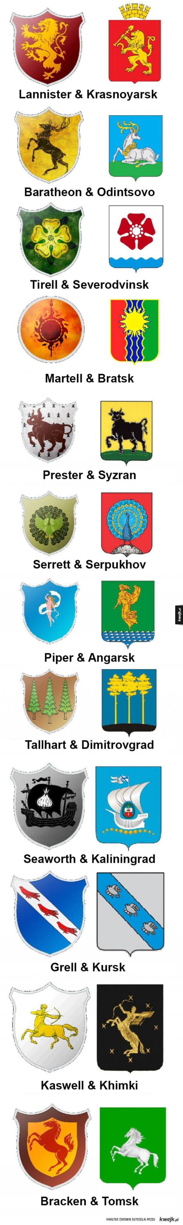Herby rodów z gry o tron vs rosyjskie herby