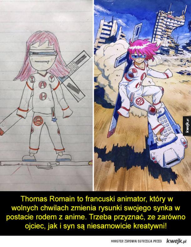 Ojciec przerabia rysunki synka na postacie z anime