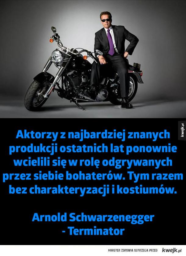 Aktorzy z najbardziej znanych produkcji ostatnich lat - Aktorzy z najbardziej znanych produkcji ostatnich lat ponownie wcielili się w rolę odgrywanych przez siebie bohaterów. Tym razem bez charakteryzacji i kostiumów.  Arnold Schwarzenegger  - Terminator
