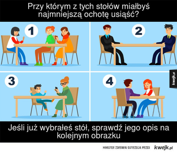 Dowiedz się, co cię w życiu najbardziej stresuje! - Przy których z tych stołów miałbyś najmniejszą ochote usiąść? Jeśli już wybrałeś stół, sprawdź jego opis na kolejnym obrazku