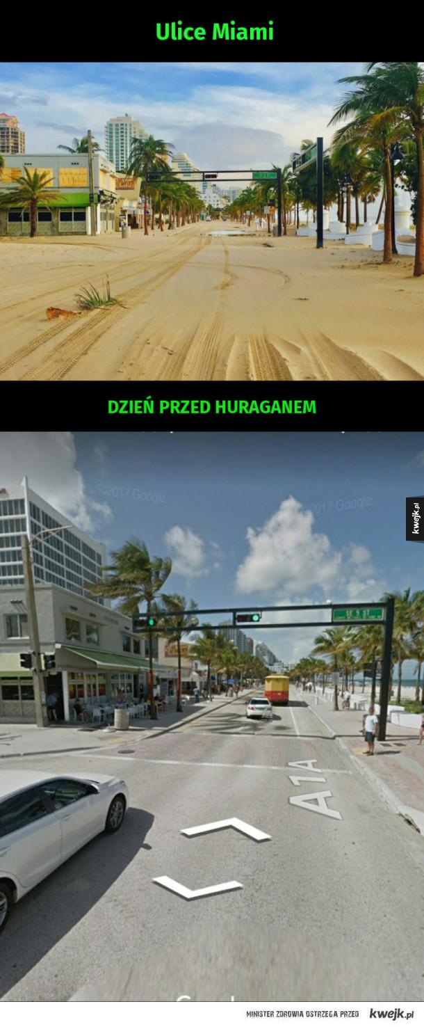 Ulice Miami przez huraganem i zaraz po