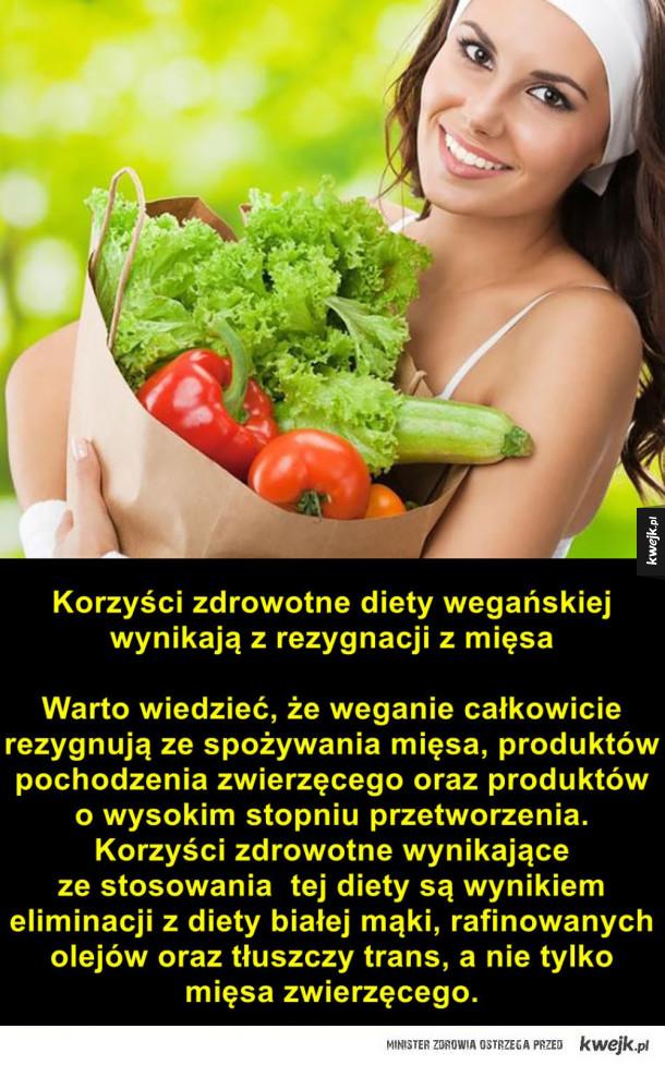 Największe kłamstwa na temat diety wegańskie - Korzyści zdrowotne diety wegańskiej wynikają z rezygnacji z mięsa Warto wiedzieć, że weganie całkowicie rezygnują ze spożywania mięsa, produktów pochodzenia zwierzęcego oraz produktów o wysokim stopniu przetworzenia. Korzyści zdrowotne wynikające ze stosow