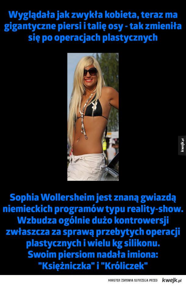 Tak zmieniła się po operacjach plastycznych - Wyglądała jak zwykła kobieta, teraz ma gigantyczne piersi i talię osy - tak zmieniła się po operacjach plastycznych Sophia Wollersheim jest znaną gwiazdą niemieckich programów typu reality-show. Wzbudza ogólnie dużo kontrowersji zwłaszcza za sprawą przebyt