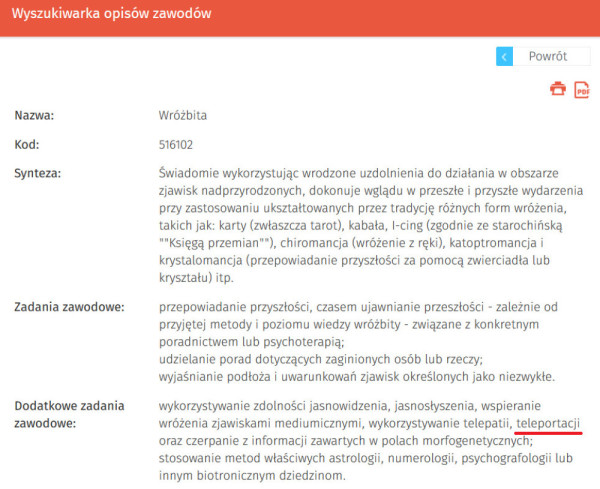 Oficjalny zawód na stronie praca.gov.pl