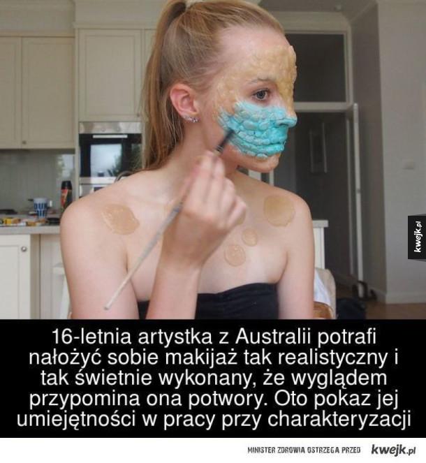 Ta dziewczyna potrafi zmienić się w potwora! - 16- letnia artystka z Australii potrafi nałożyć sobie makijaż tak realistycznie i tak świetnie wykonany, że wyglądem przypomina ona potwory. Oto pokaz jej umiejętności w pracy przy charakteryzacji