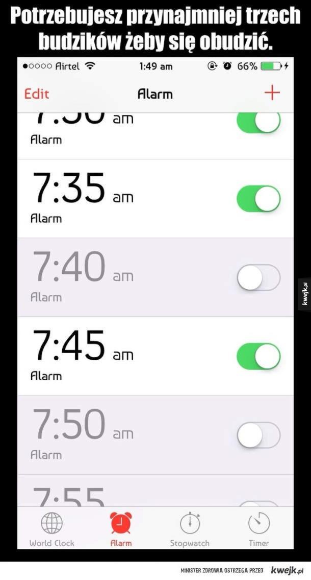 Problemy ludzi którzy nie lubią rano wstawać