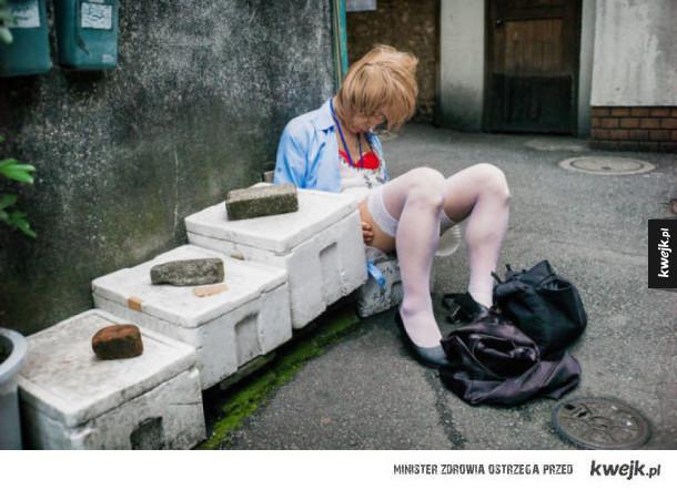Pijani Japończycy zasną dosłownie wszędzie