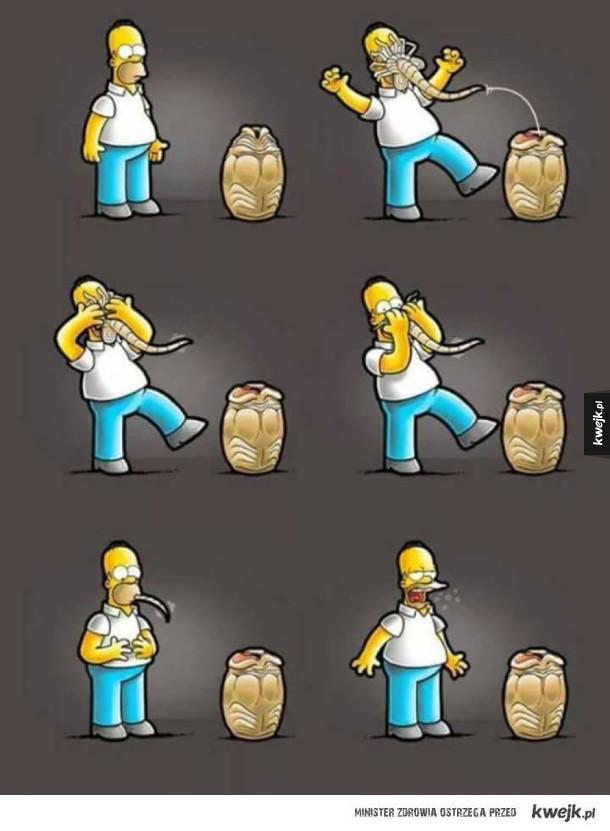 Homer vs facehugger