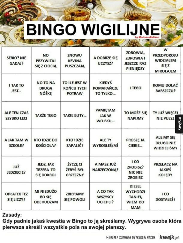 wigilijne bingo - bo w końcu mamy listopad