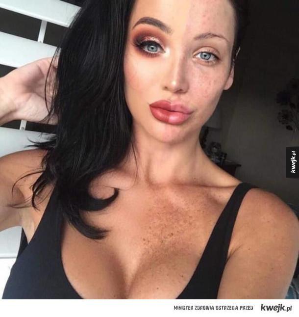 """Nowy trend na Instagramie - makijażowe """"przed i po"""" na jednym zdjęciu"""