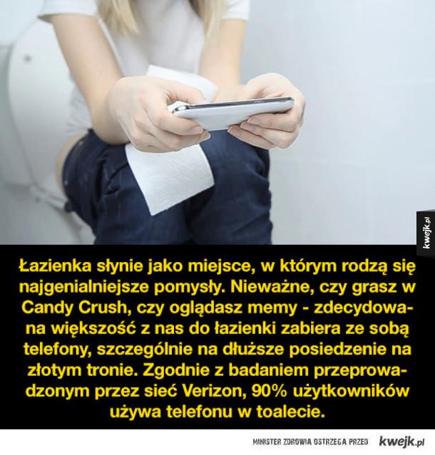 Statystyki o korzystaniu z telefonu w toalecie