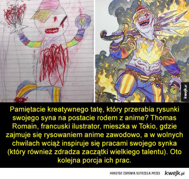 Tata przerabia rysunki swojego synka na postacie z anime