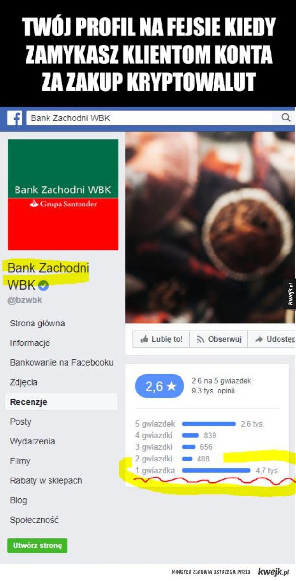 Bank Zachodni WBK zamyka konta za zakup kryptowalut