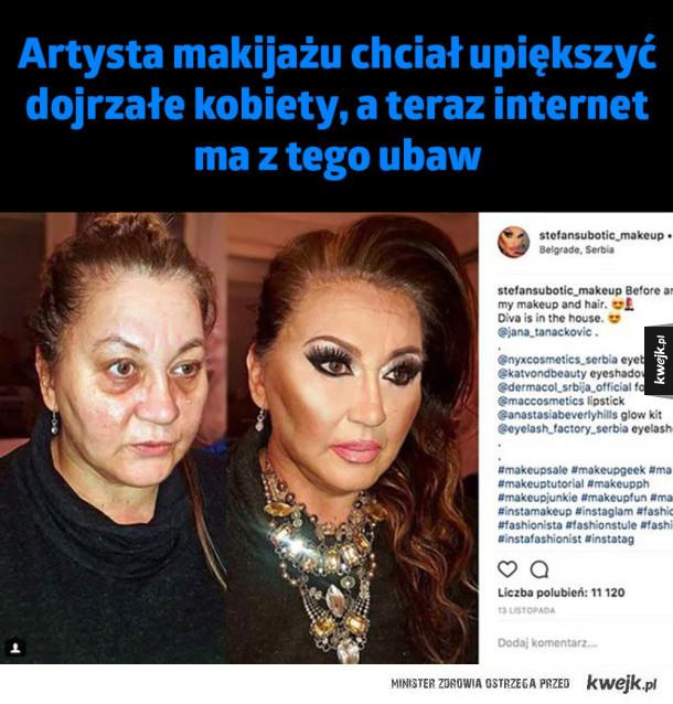 Artysta makijażu chciał upiększyć  dojrzałe kobiety, a teraz internet  ma z tego ubaw