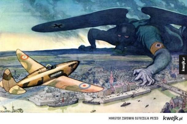Satyryczne ilustracje i komiksy polityczne z czasów II wojny światowej