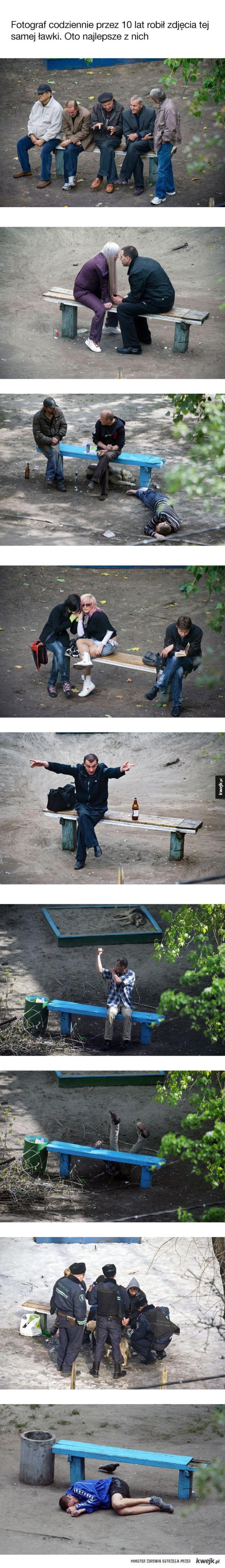 10 lat zdjęć tej samej ławki