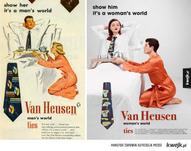 Fotograf zamienił role w seksistowskich reklamach, żeby podkreślić ich absurdalność