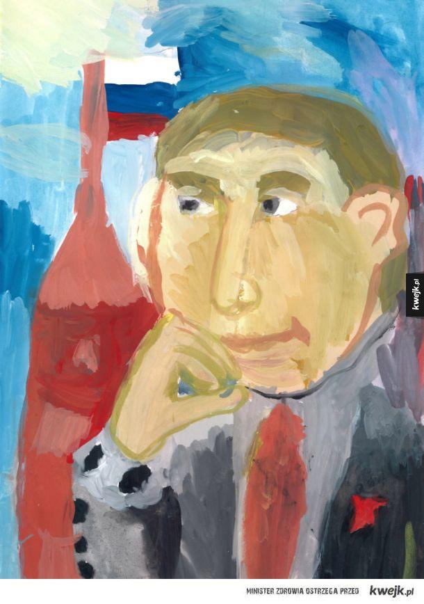 Najlepsze dzieła sztuki zgłoszone do konkursu na portret Putina przez rosyjskich uczniów