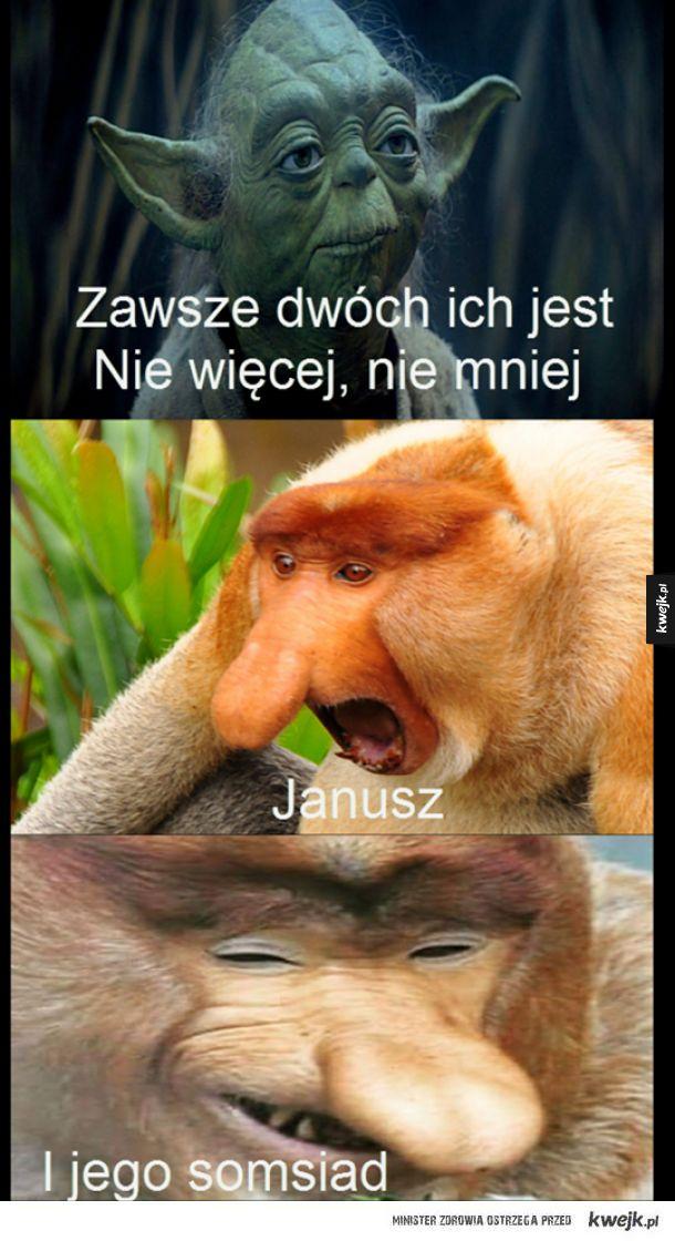 Zawsze dwóch ich jest nie więcej nie mniej Janusz i jego somsiad
