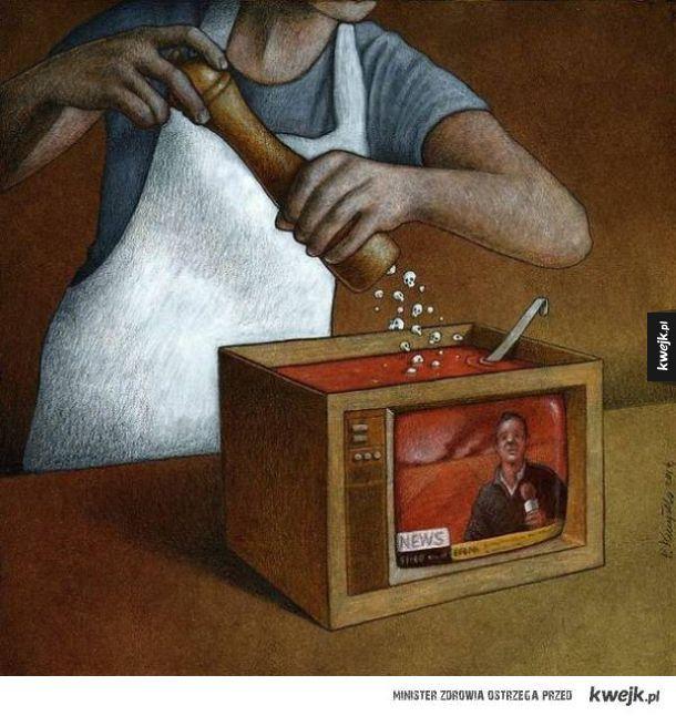 Dające do myślenia ilustracje autorstwa polskiego artysty Pawła Kuczyńskiego