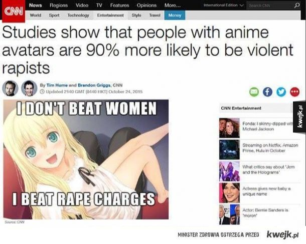 Kazdy avatar z anime to potencjalny gwalciciel.