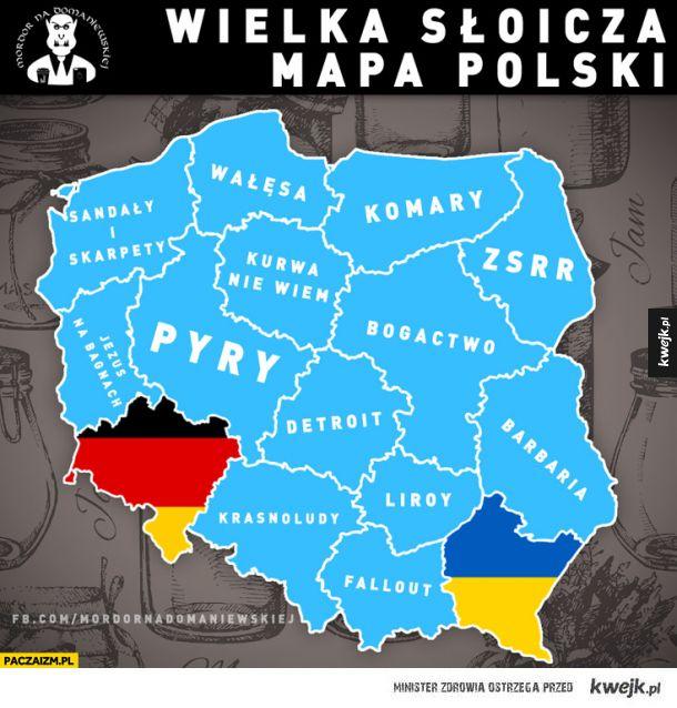 Wielka słoicza mapa Polski