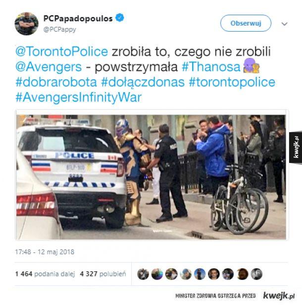Policja w Toronto aresztowała Thanosa, a Internet śmieszkuje