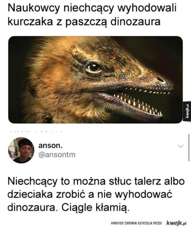 Naukowcy niechcący wyhodowali kurczaka z paszczą dinozaura
