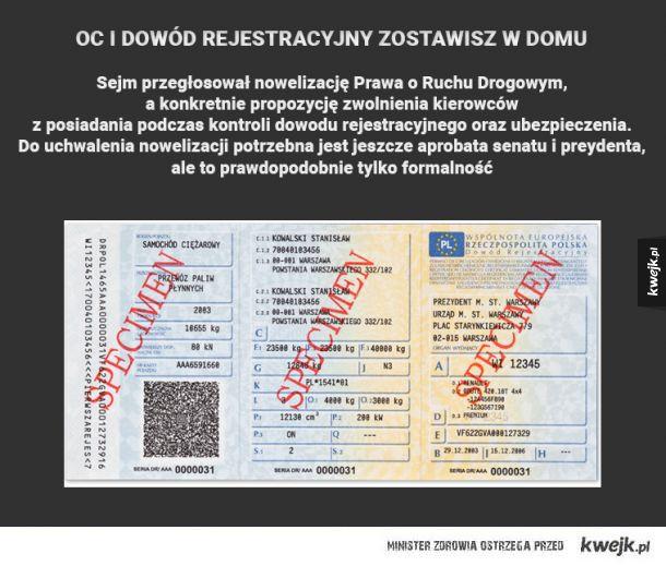 OC i dowód rejestracyjny