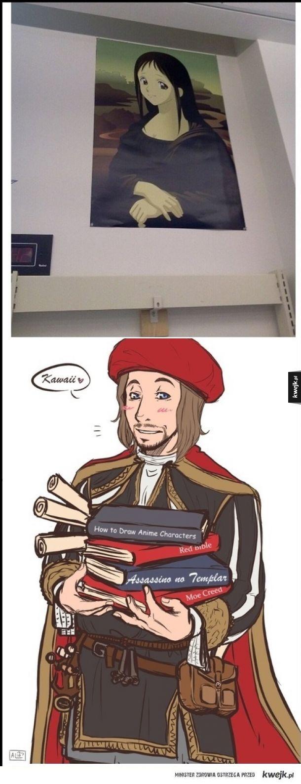 Moe Lisa wielkiego artysty Leonardo Doujinshi.